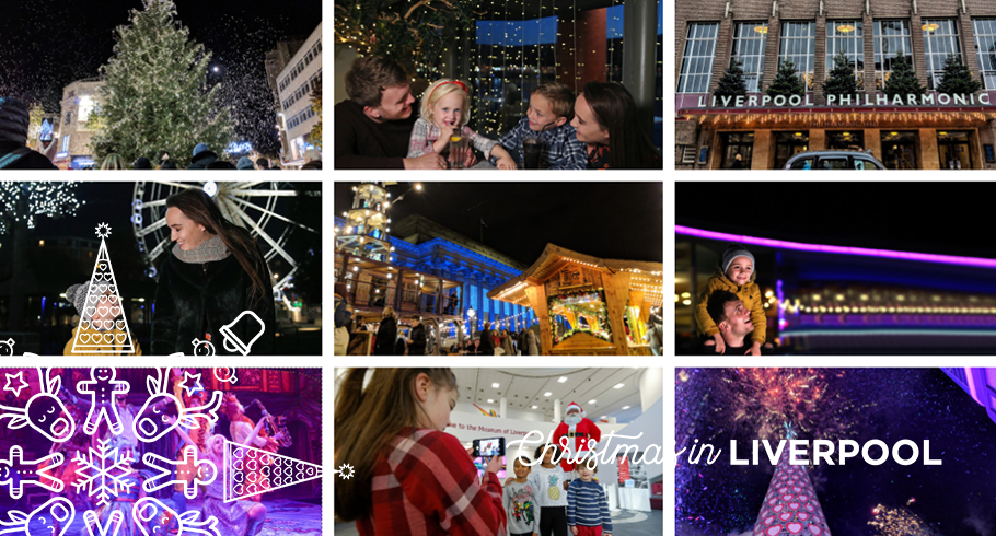 Collage showing Christmas trees, families having fun, christmas markets, giant santas and more