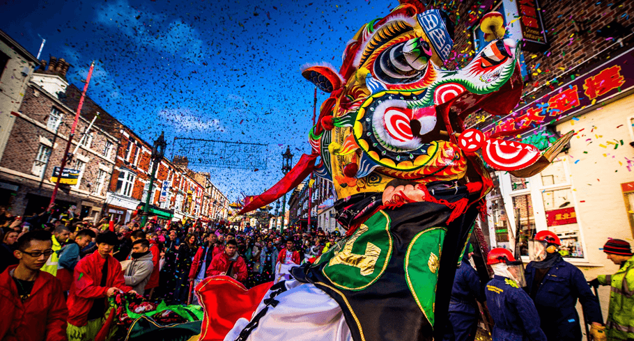 Chinese New Year Celebrations showing a traditional Chinese Dragon