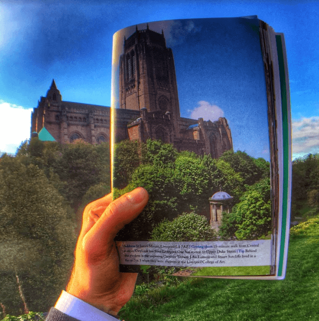 Liverpool's Anglican Cathedral shown partially in a guide book and partially real life