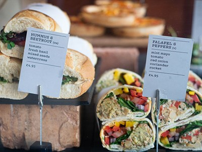 A colourful vegetarian sandwich display