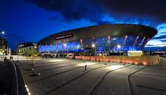 An exterior view of Liverpool's M&S Bank Arena lit up at night