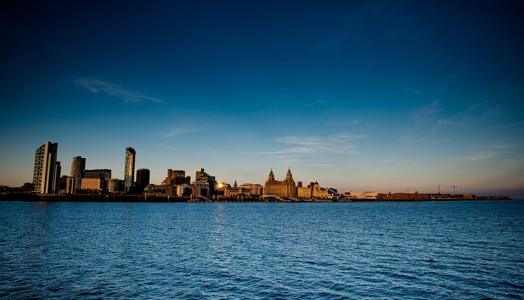 Liverpool's iconic skyline on an early morning, taken from Seacombe.