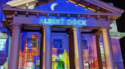 A Magical Display on the Martin Luther King Jnr Building at the Albert Dock.
