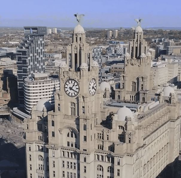 Royal Liver Building from the sky