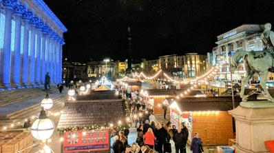 Get into the holiday spirit and enjoy chestnuts roasting on an open fire, mistletoe, mulled wine and many more festive fancies as Liverpool's Christmas market moves to St George's Plateau.