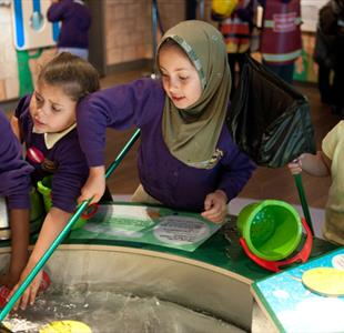 Children with an interactive display at the Museum in Liverpool
