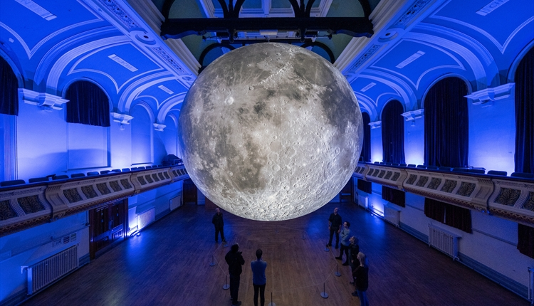 Museum of The Moon by Luke Jerram in Birkenhead Town Hall