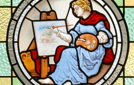 Image credit  © Matthew Cornford, Detail of stained glass window, Heginbottom School of Art, Ashton-under-Lyne.