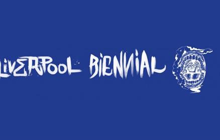 Liverpool Biennial 2021 branded font on a dark blue background