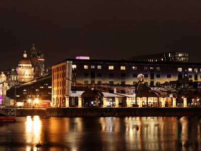 Projection on the dock buildings at Albert Dock