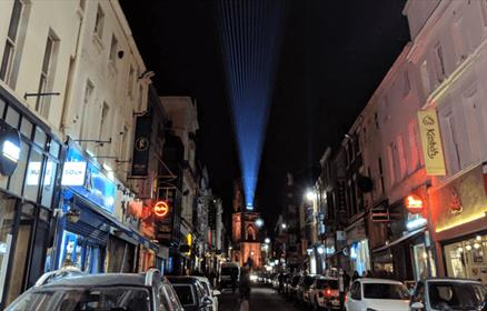Bold Street at Christmas in 2018 with a laser installation created by Kazimier